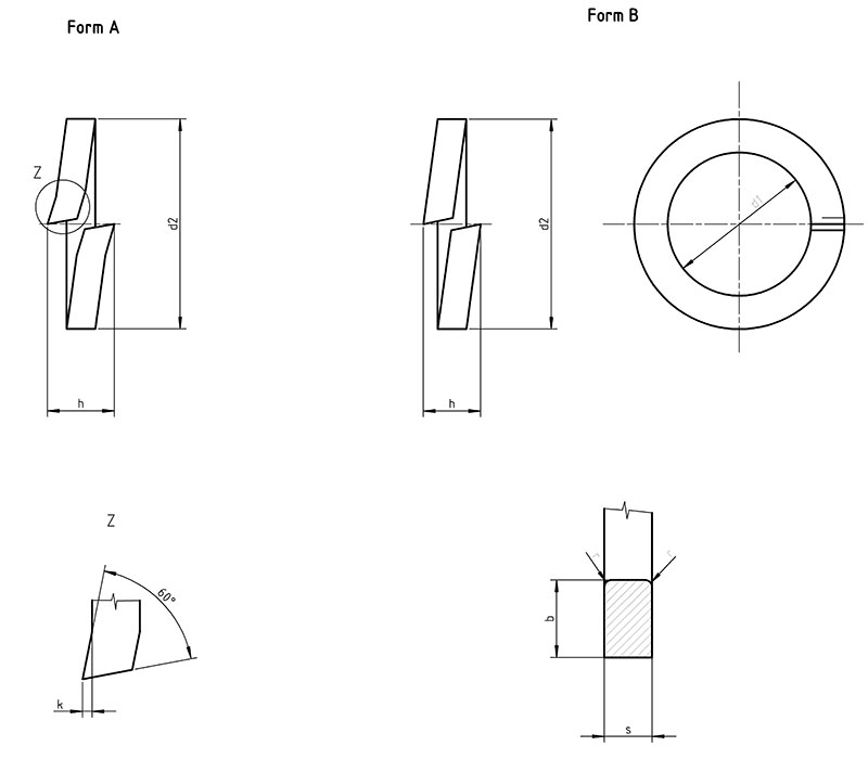din 127 B - Spring lock washers, Form B
