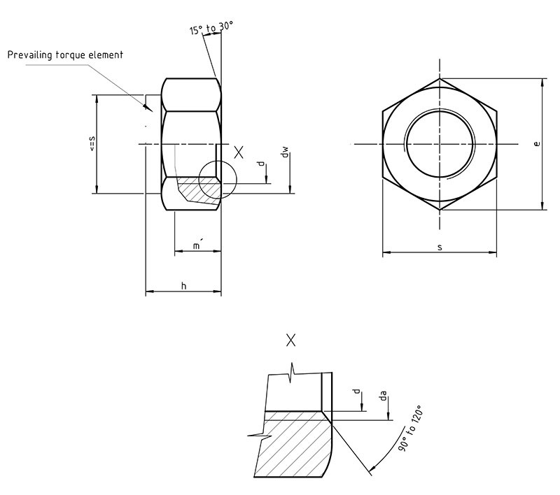 Iso 7042 Hexagon Nuts With Clamping Part All Metal Nut